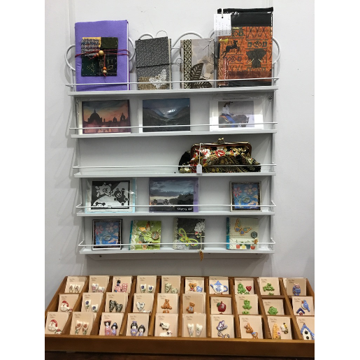 Jewellery and books for sale at Shop 38